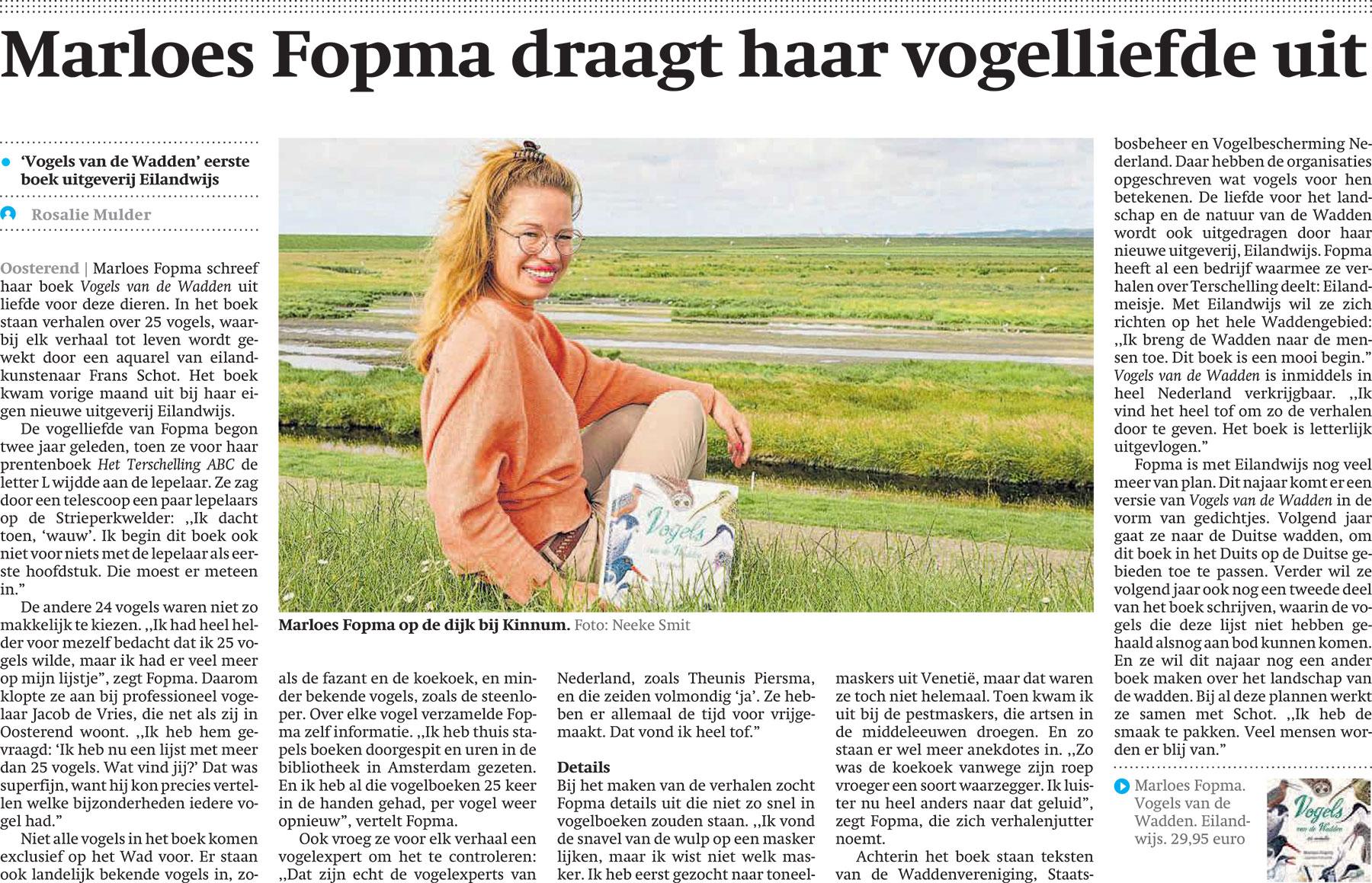 Marloes Fopma draagt haar vogelliefde uit